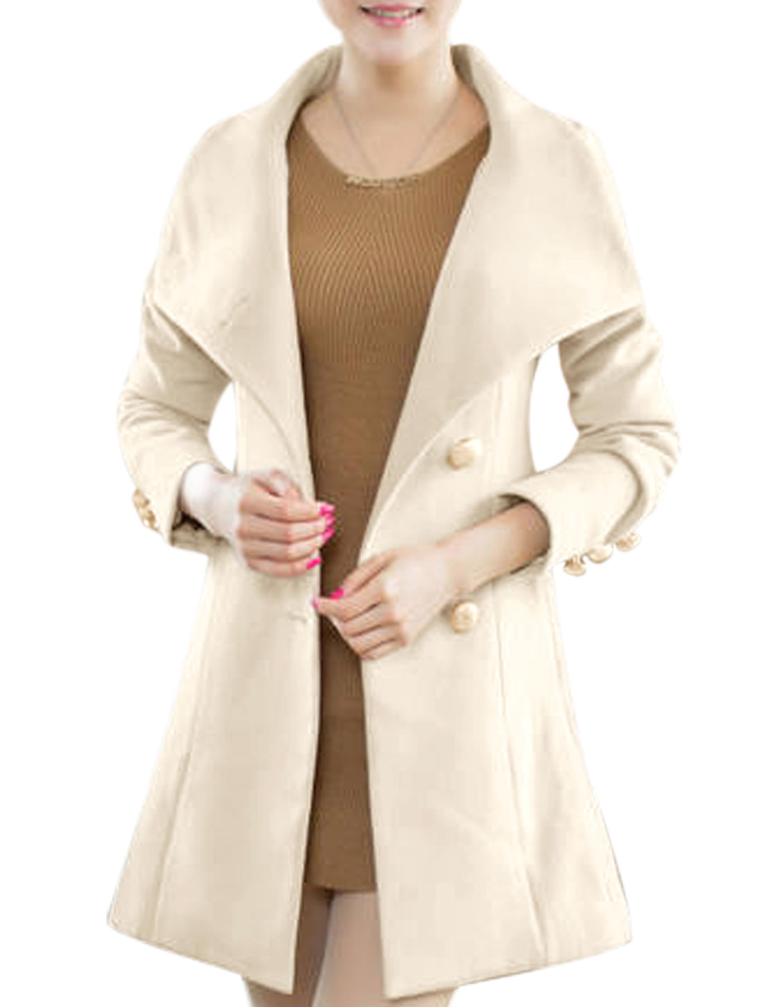 Lady Convertible Collar Single Breasted Casual Belted Worsted Coat Beige S