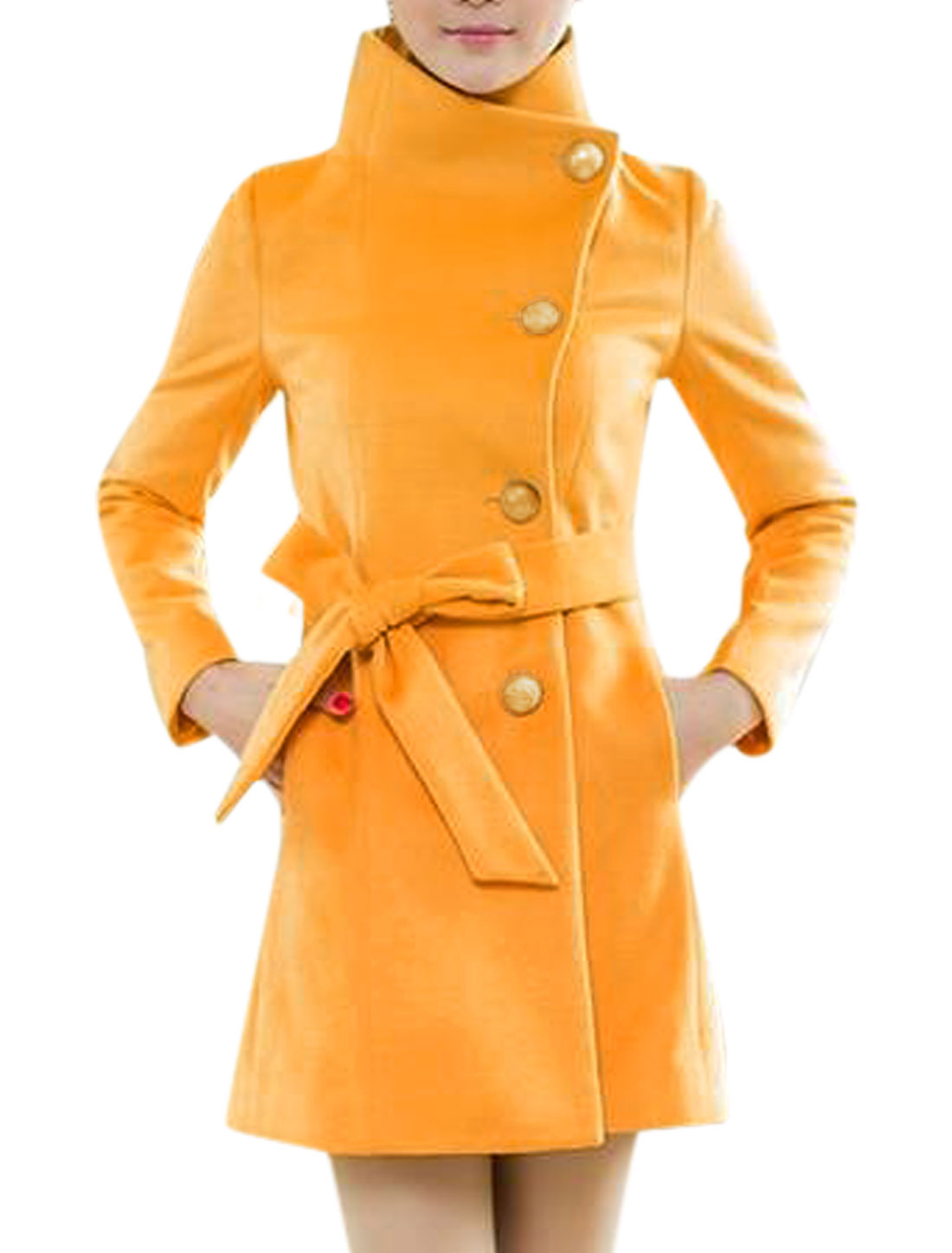 Lady Convertible Collar Buttons Decor Cuffs Casual Belted Worsted Coat Yellow S