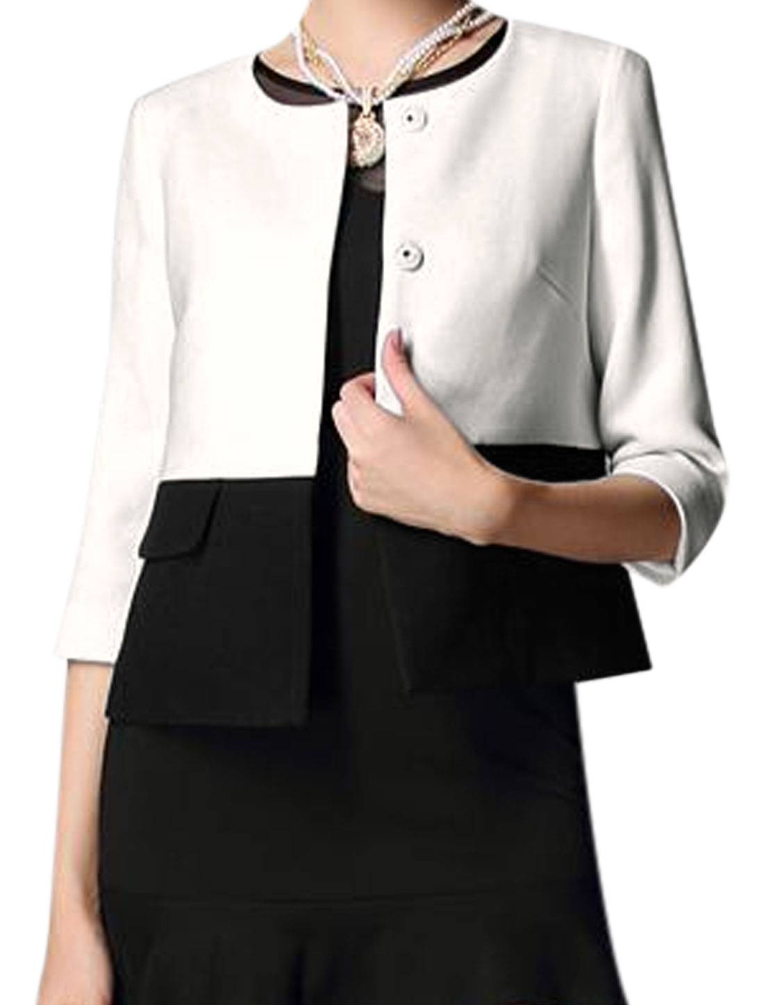 Ladies Black White 3/4 Sleeves Round Neck Single Breasted Color Block Jacket S