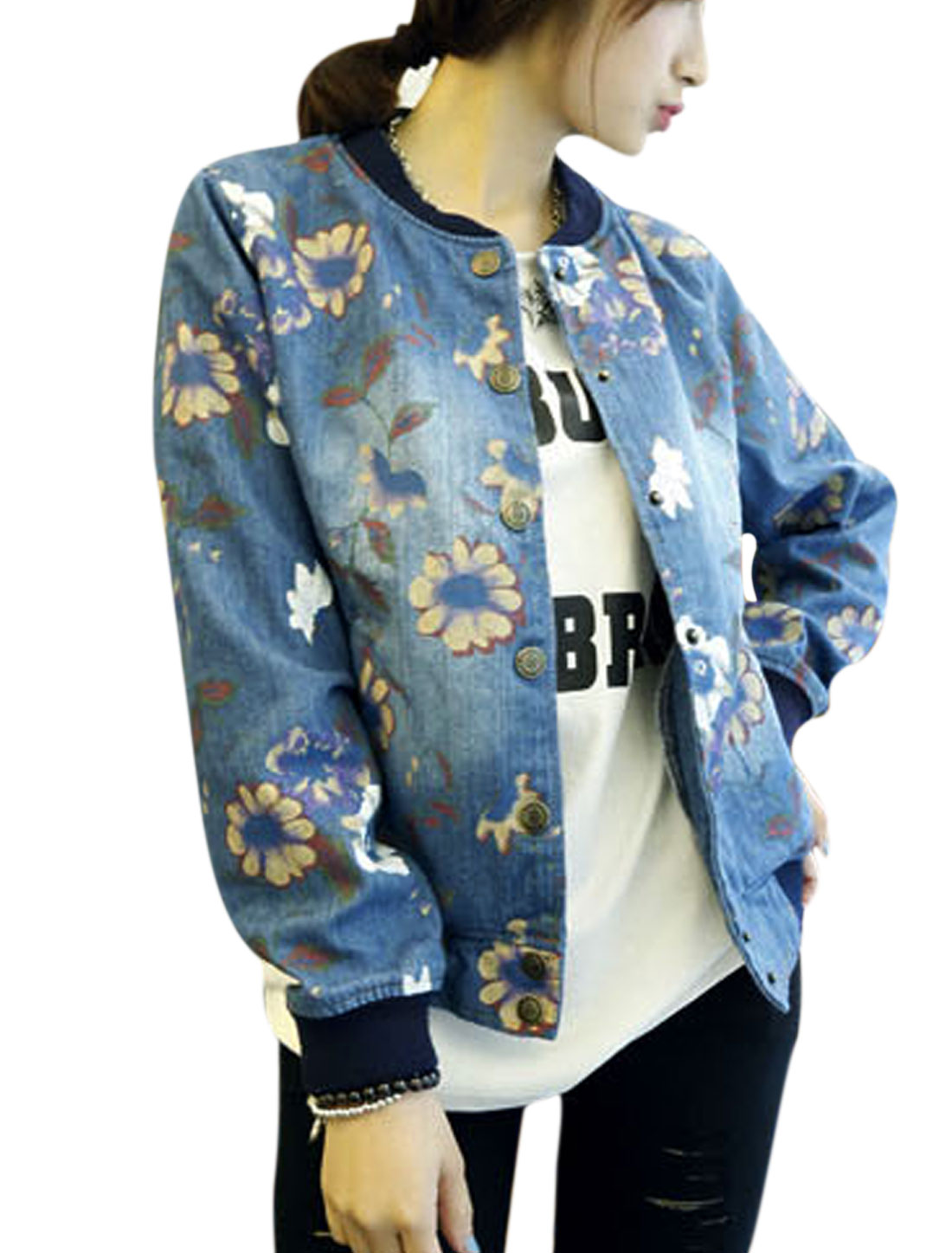 Women Stand Collar Floral Prints Long Sleeve Stylish Jean Jacket Blue S