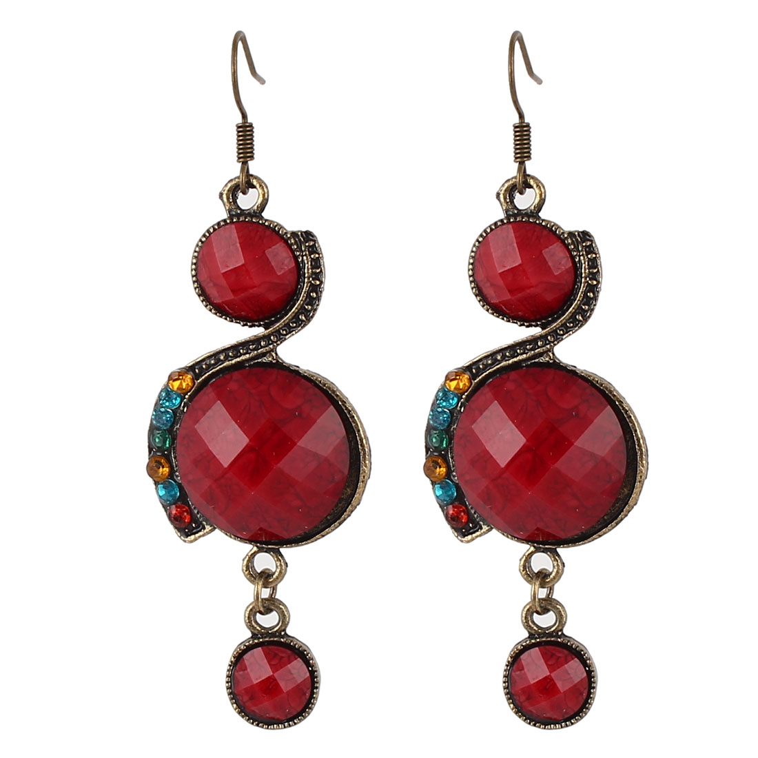Pair Red Round Faced Rhinestone Decor 8 Shaped Bronze Tone Frame Hook Earrings