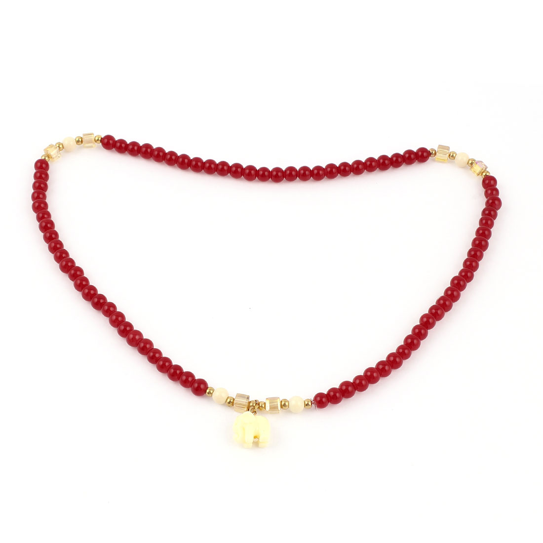 Lady Red Plastic Beads Chain Elephant Pendant Accent Elastic Necklace Ring Bracelet