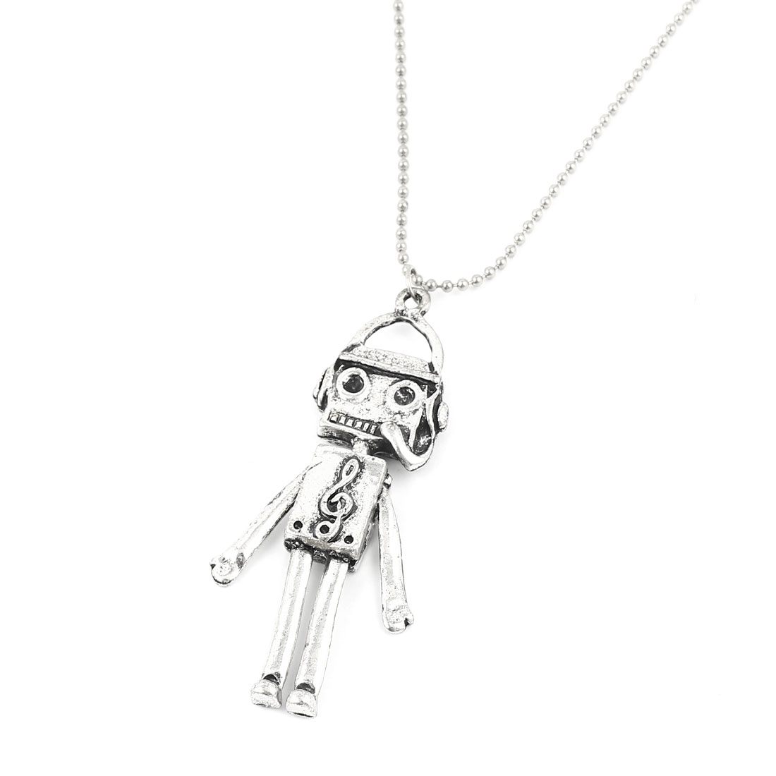 Silver Tone Metal Chain Robot Design Pendant Dress Sweater Necklace for Lady