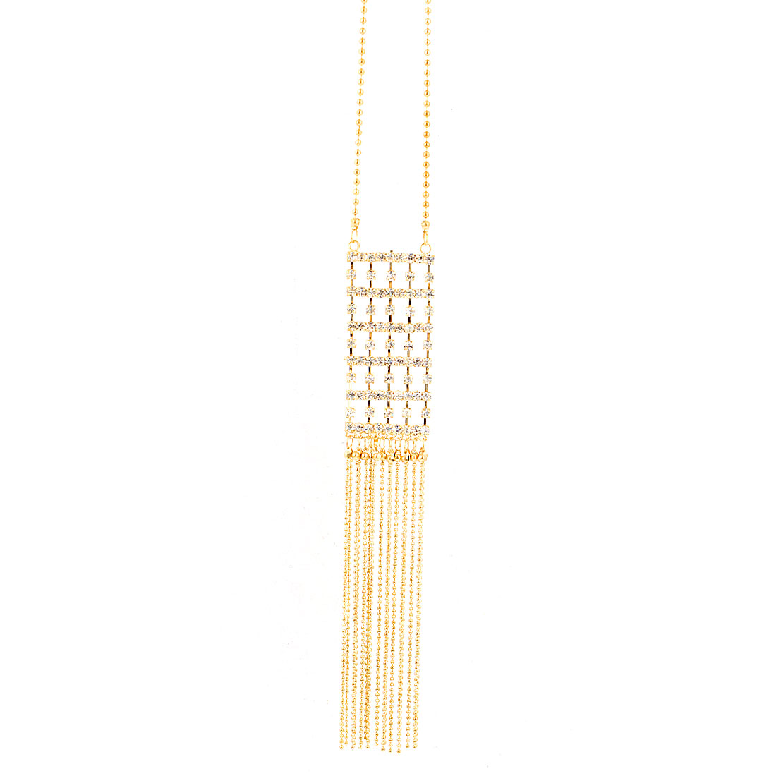 Gold Tone Beads String Tassels Rhinestone Detailing Pendant Dress Sweater Necklace for Lady