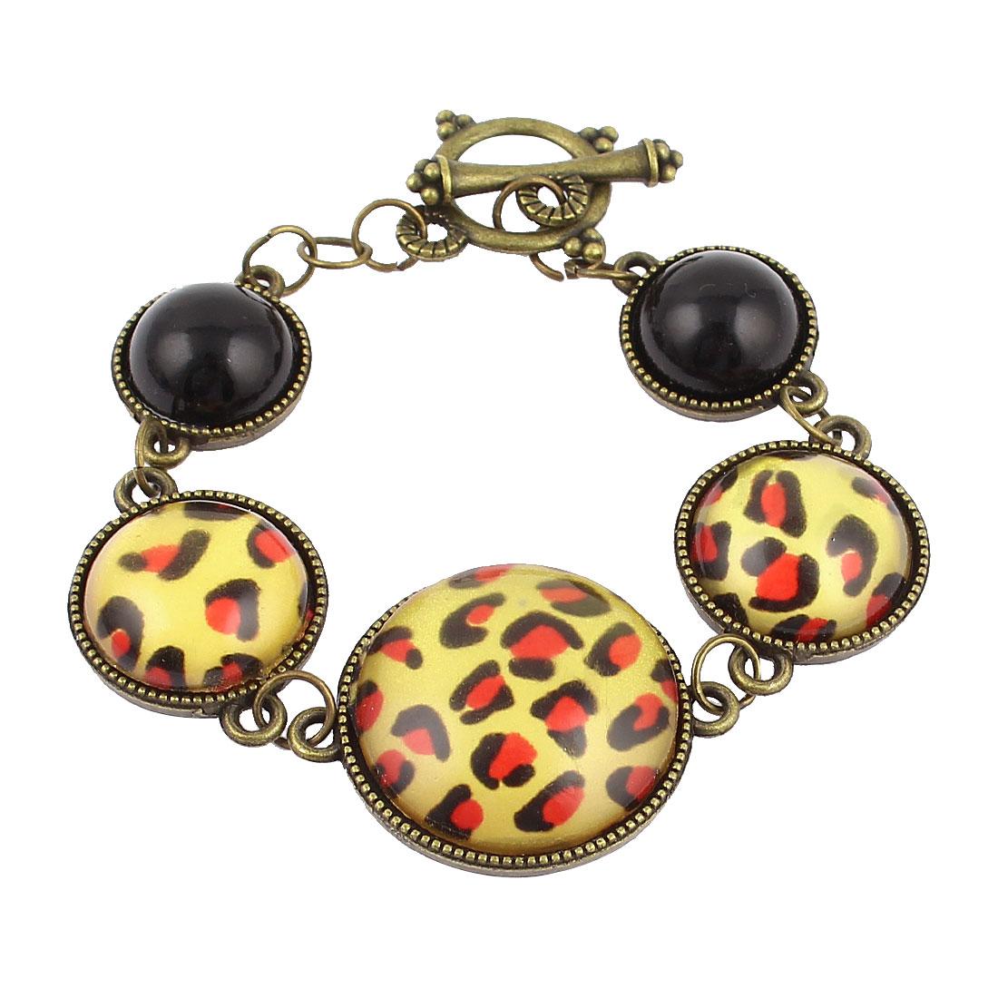 Bronze Tone Metal Frame Leopard Print Round Shape Pandent Bracelet for Lady