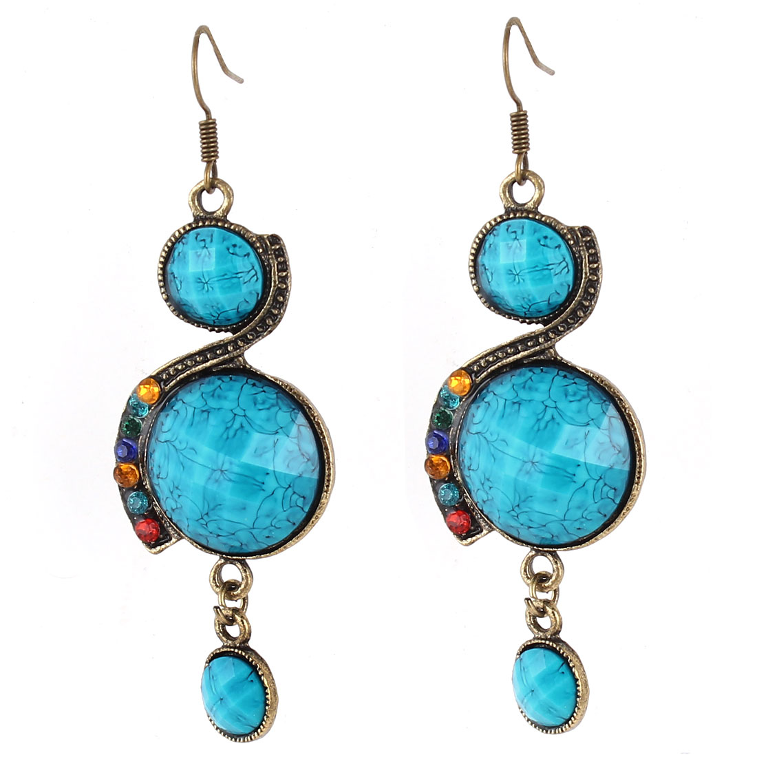 Pair Cyan Round Faced Rhinestone Decor 8 Shaped Bronze Tone Frame Hook Earrings