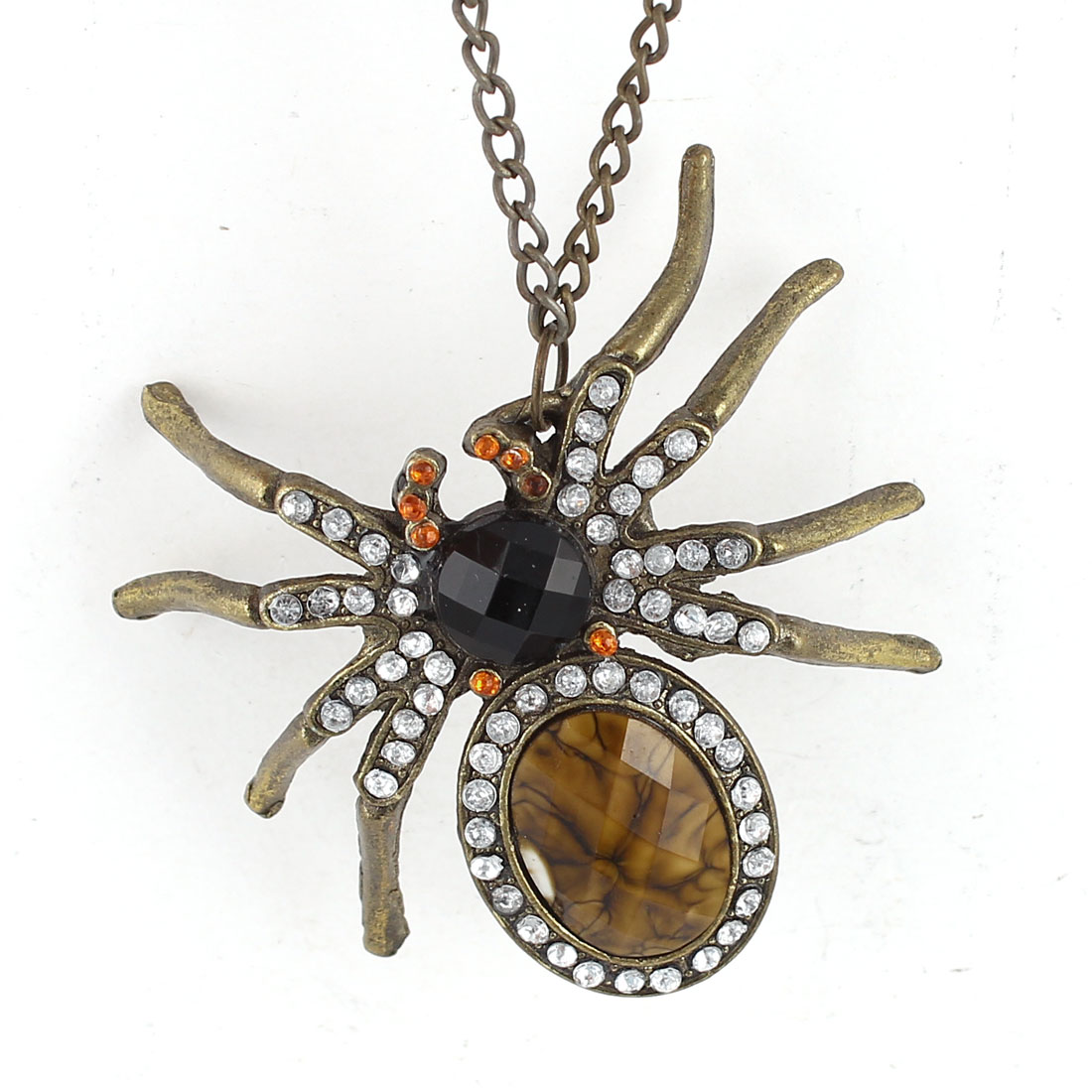 Bronze Tone Glitter Rhinestone Inlaid Spider Design Pendant Chain Dress Sweater Necklace for Lady