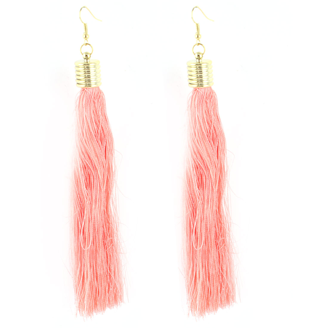 Lady Ear Decoration Nylon Tassels Pendant Fish Hook Earrings Pink Pair