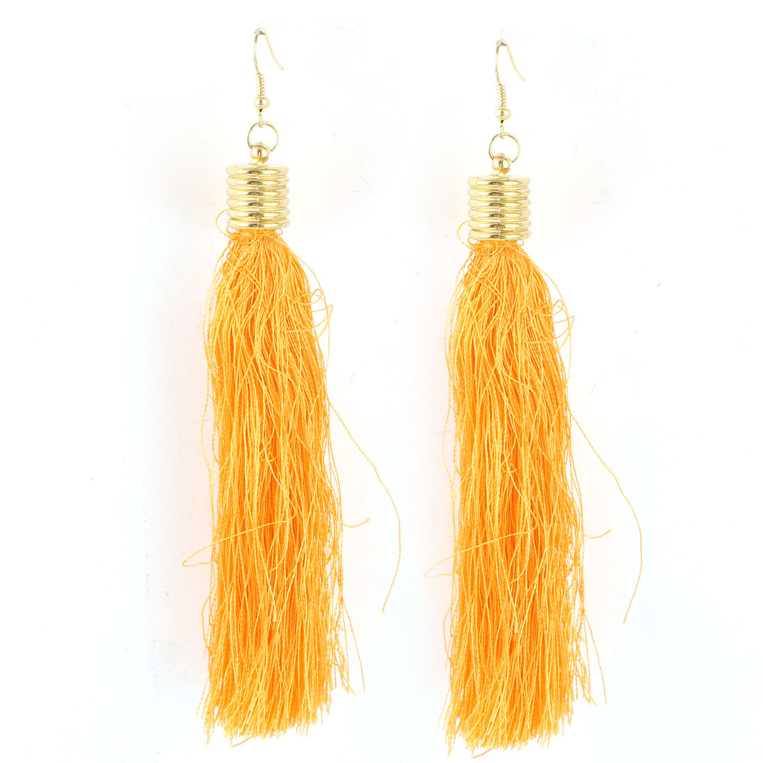 Ladies Ear Decoration Nylon Tassels Pendant Fish Hook Earrings Orange Pair