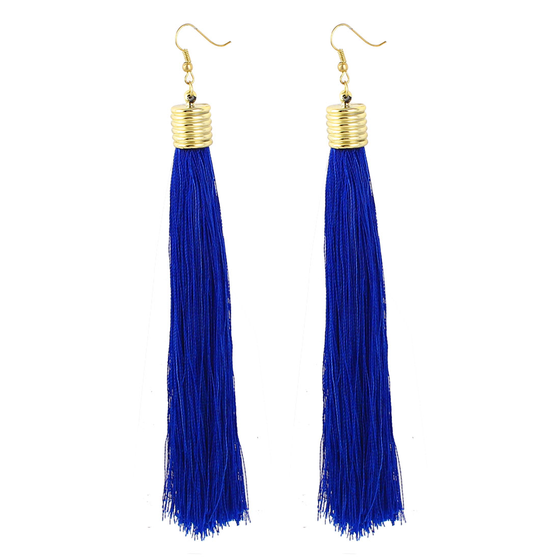 Lady Ear Decoration Nylon Tassels Pendant Fish Hook Earrings Royal Blue Pair