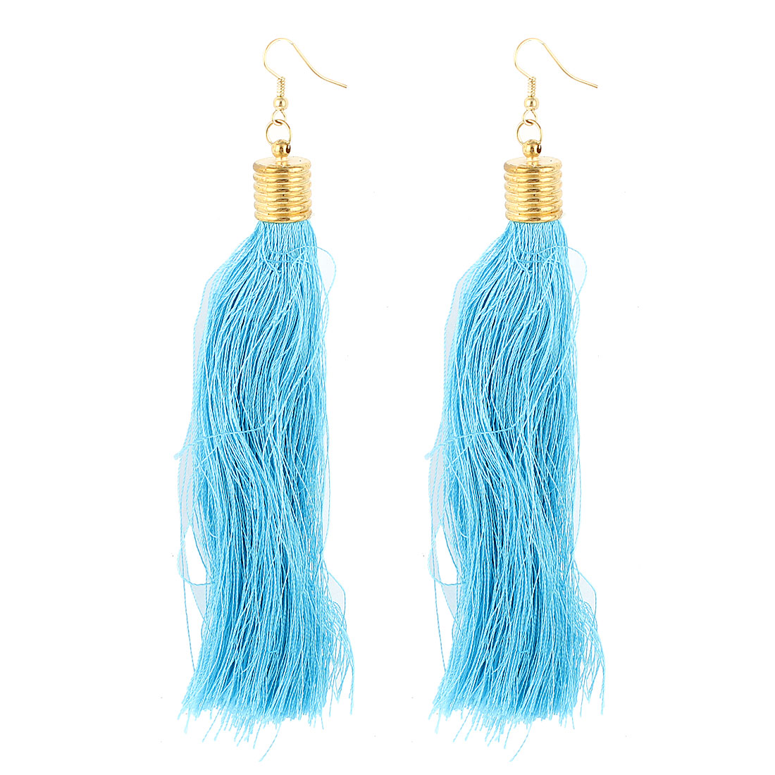 Lady Ear Decoration Nylon Tassels Pendant Fish Hook Earrings Cyan Pair