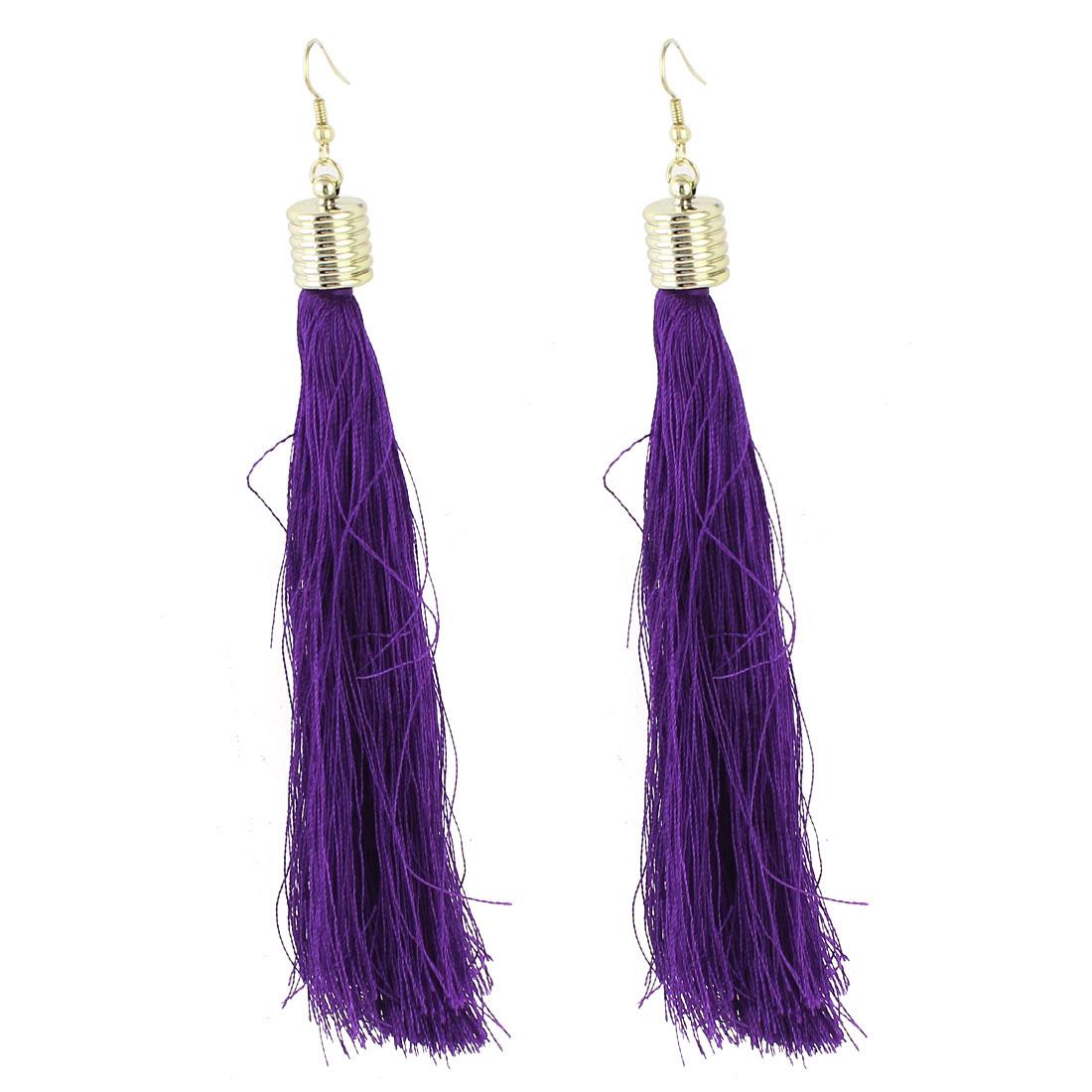 Ladies Ear Decoration Nylon Tassels Pendant Fish Hook Earrings Purple Pair