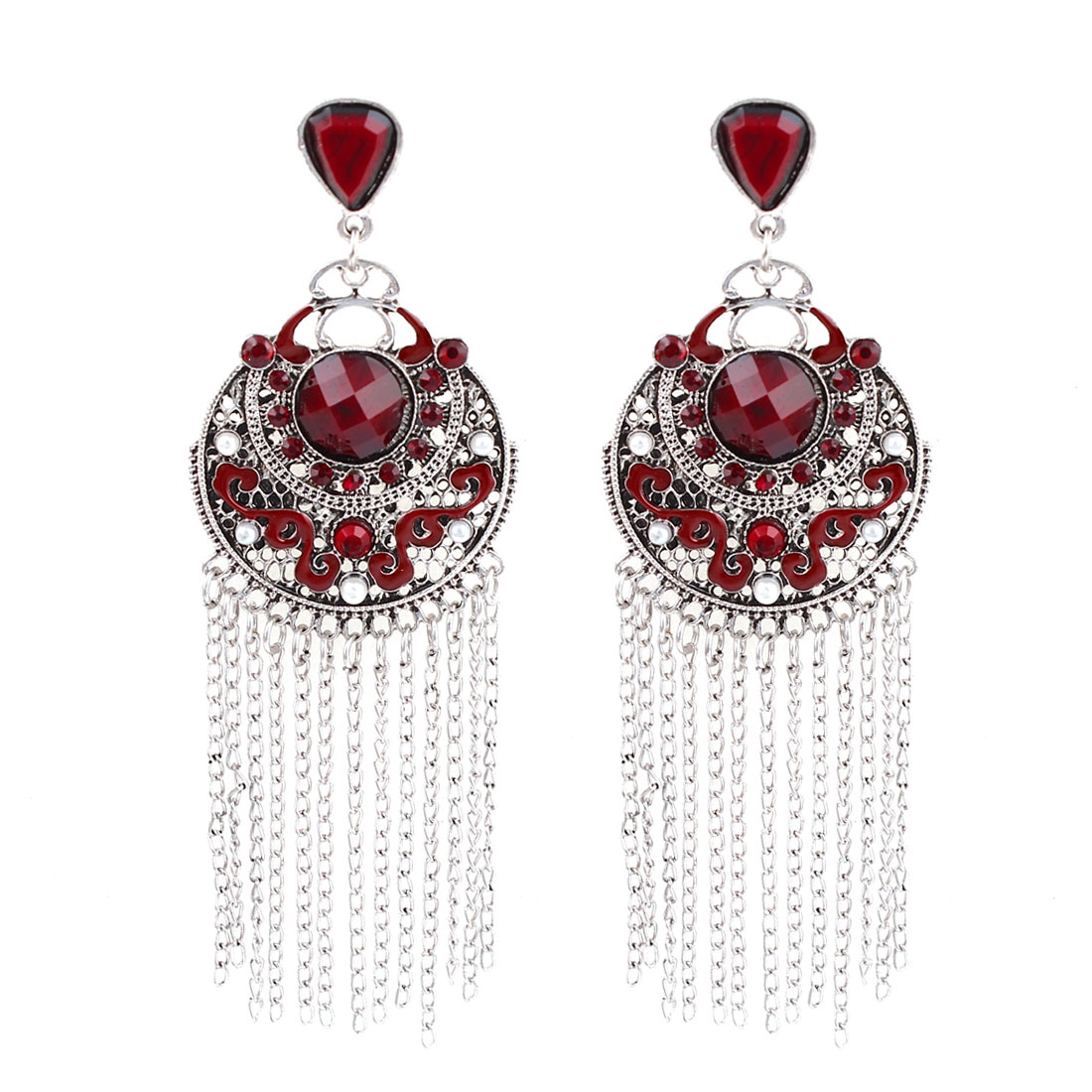 Lady Red Rhinestone Gray Metal Round Hollow Pendant Dangling Earrings Pair