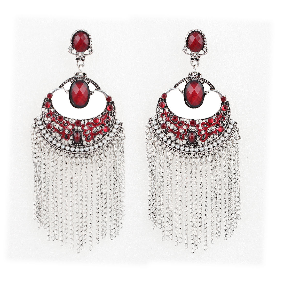 Red Faceted Rhinestone Detailing Gray Metal Chain Tassels Dangling Earrings Pair