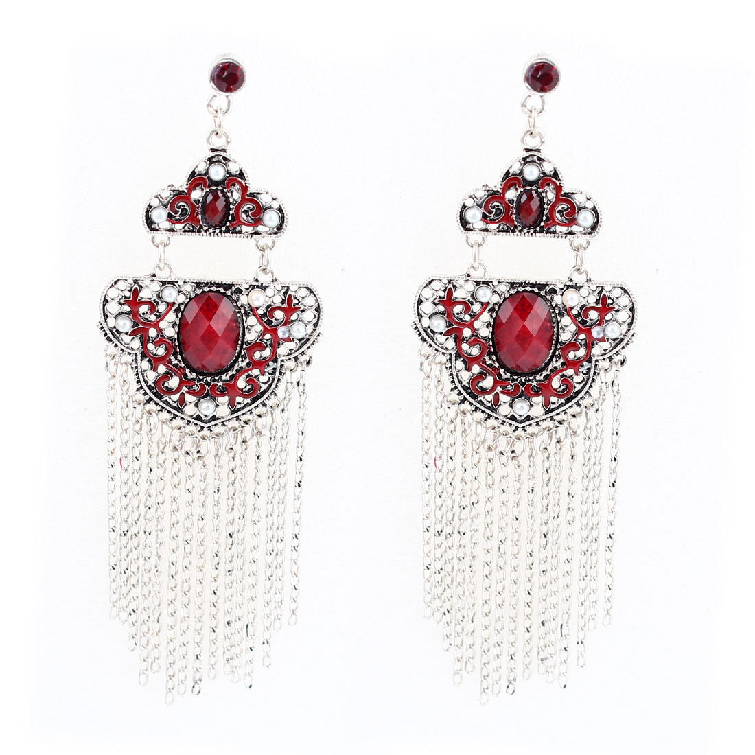 11cm Long Red Faceted Rhinestone Inlaid Gray Metal Chain Tassels Dangling Earrings Pair