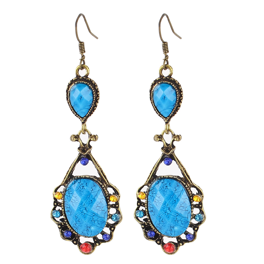 Pair Blue Rhinestone Decor Heart Shape Bronze Tone Frame Hook Earrings