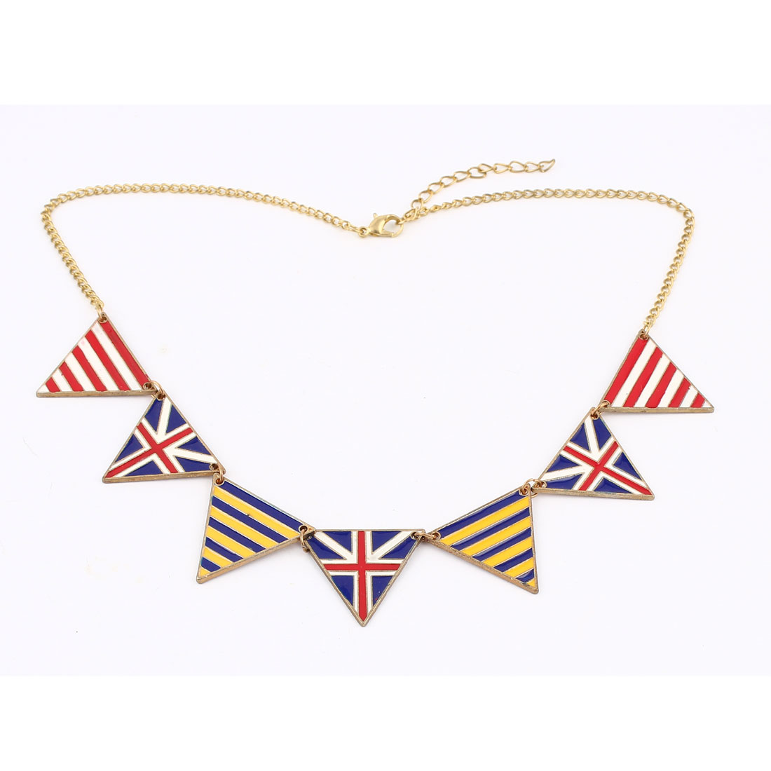 Gold Tone Metal National Flag Pendant Dress Sweater Necklace for Lady