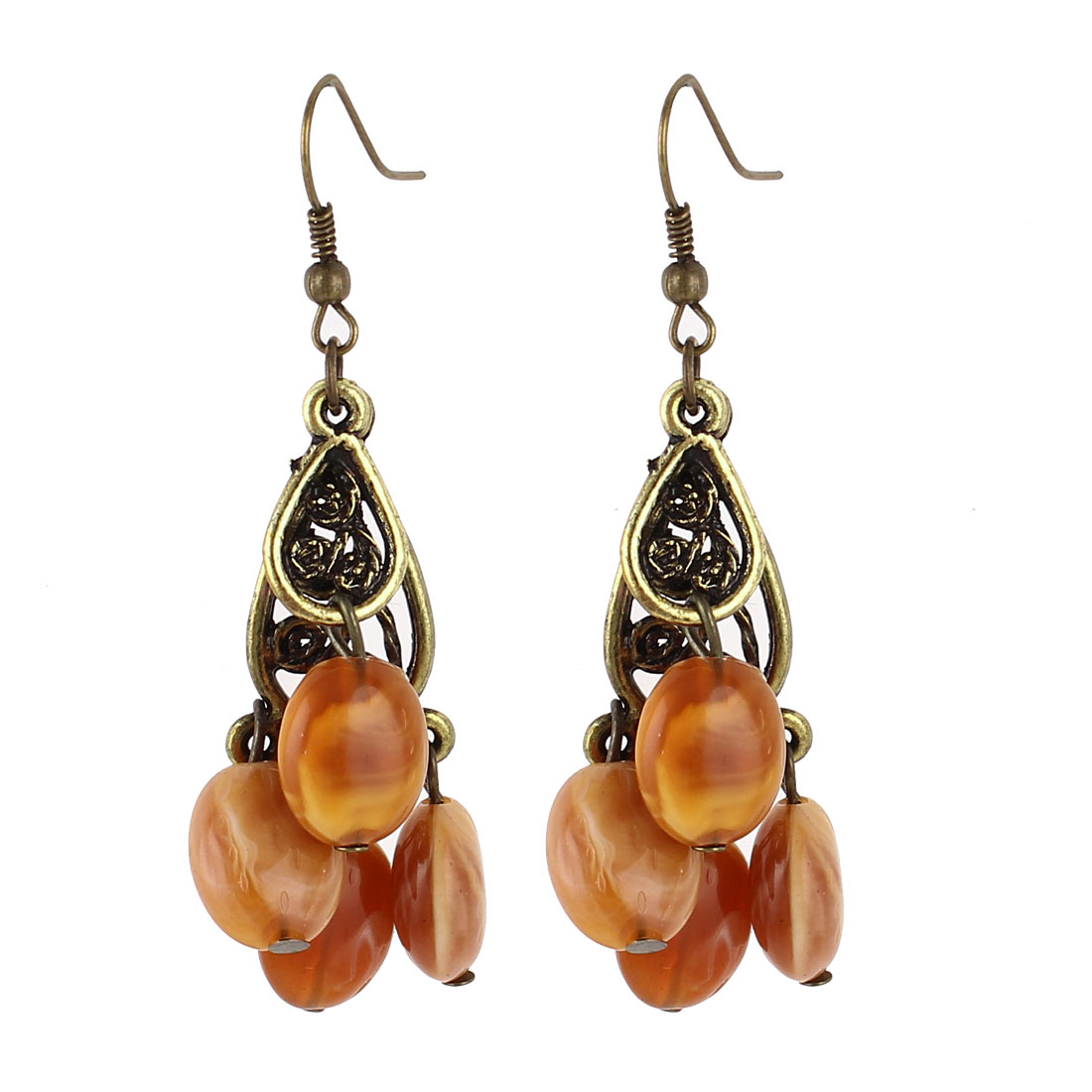 Lady Pair Brown Plastic Beads Ornament Bronze Tone Frame Dangling Pierced Hook Earrings