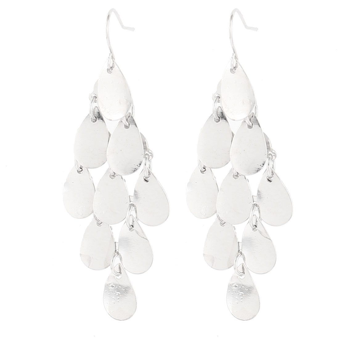 Pair Silver Tone Leaf Shape Hanging Dangling Earrings Ear Rings for Women