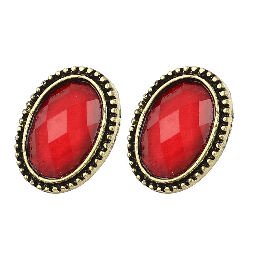 Pair Red Faced Rhinestone Oval Shaped Bronze Tone Stud Earring for Lady