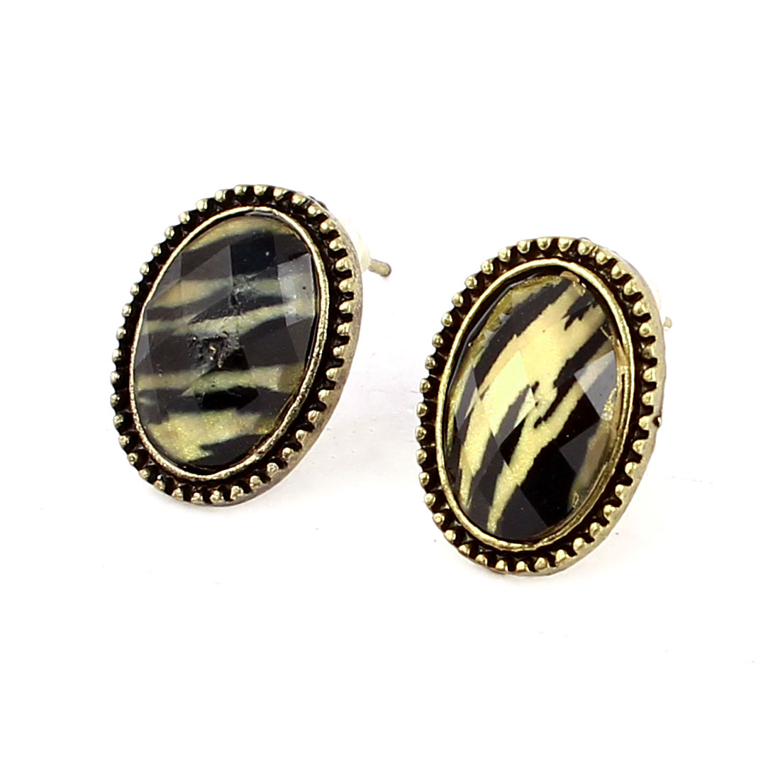 Pair Black Leopard Print Oval Shaped Bronze Tone Stud Earring for Lady