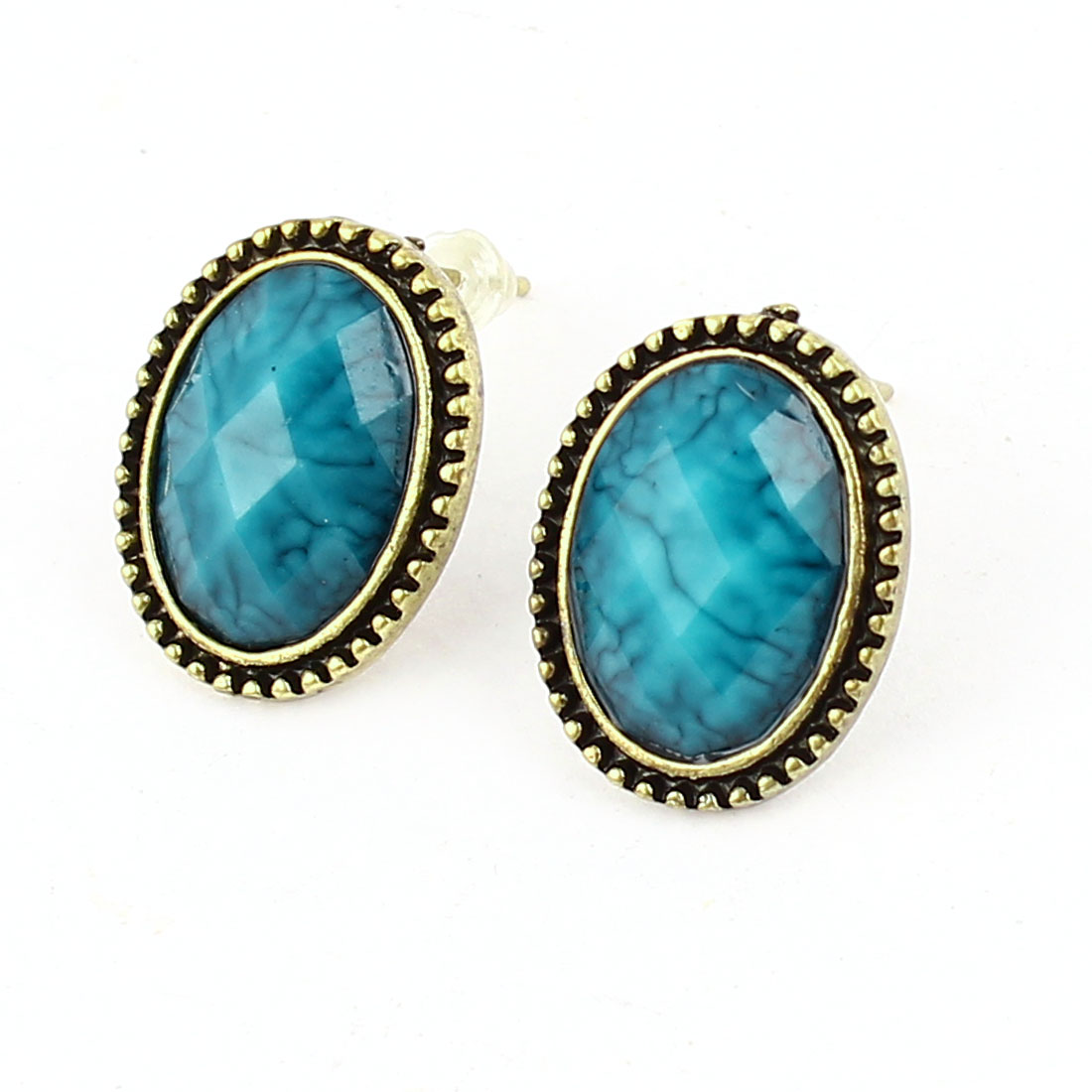 Pair Blue Faceted Beads Oval Shaped Bronze Tone Stud Earring for Lady
