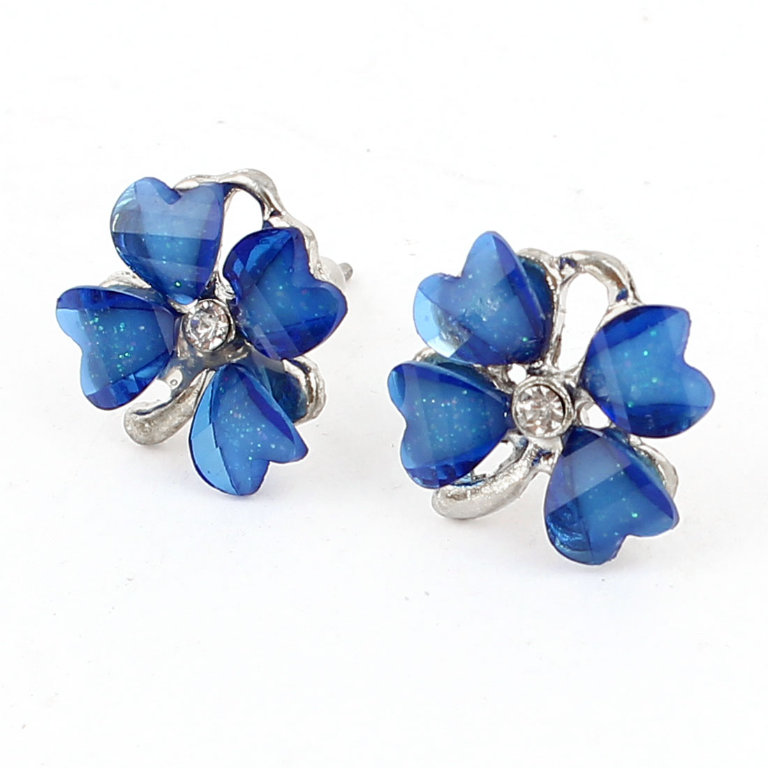 Blue Plastic Clover Flower Shape Rhinestone Accent Stud Earrings Pair for Women