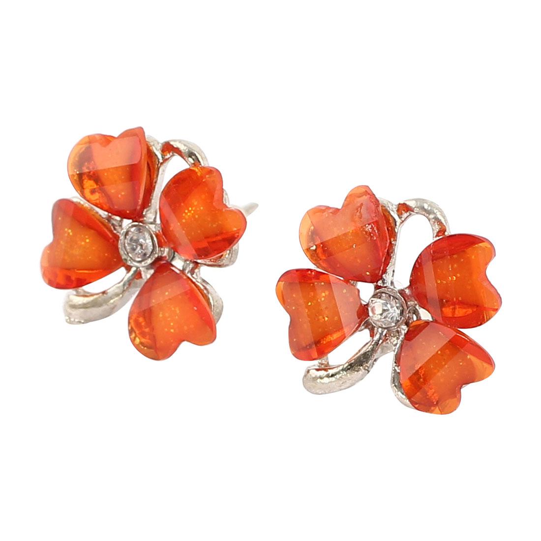 Orange Clover Flower Shape Rhinestone Accent Stud Earrings Pair for Women