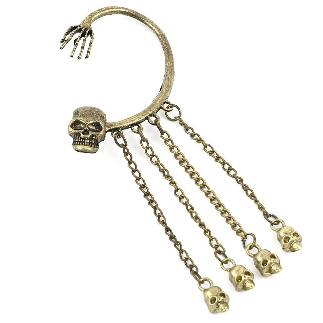 Bronze Tone Metal Skull Shape Chain Pendant Left Ear Drop Cuff Earring for Lady