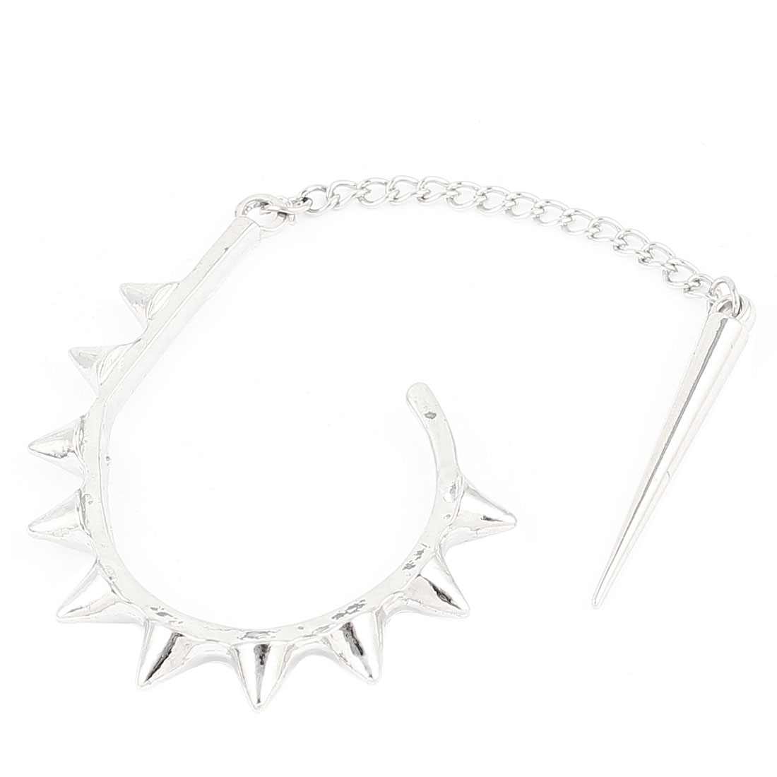 Lady Silver Tone Metal Spike Rivet Fringe Chain Cuff Earrings Ear Drop