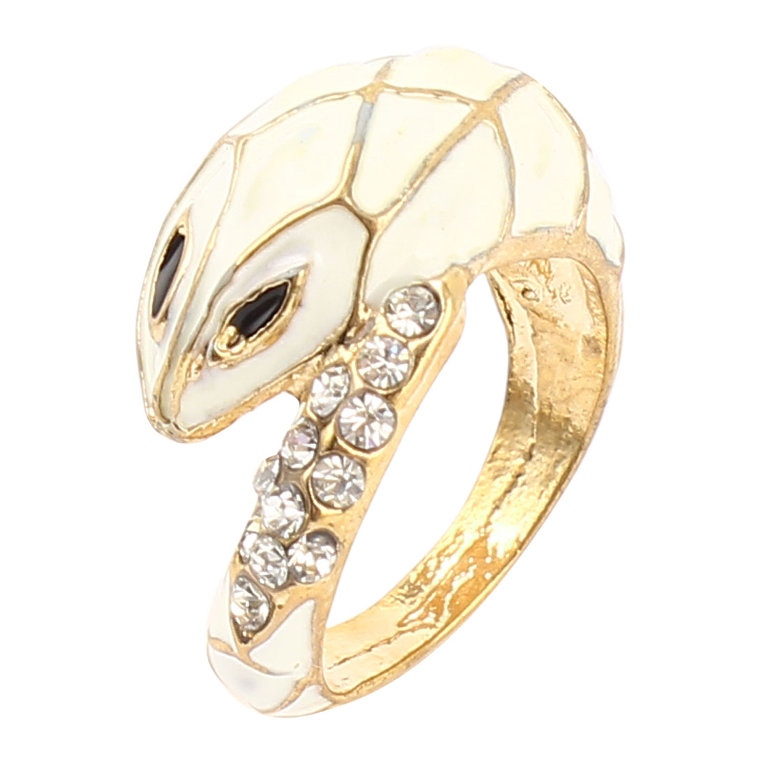 US 7 White Brass Tone Metal Snake Shape Rhinestone Detailing Finger Ring for Lady