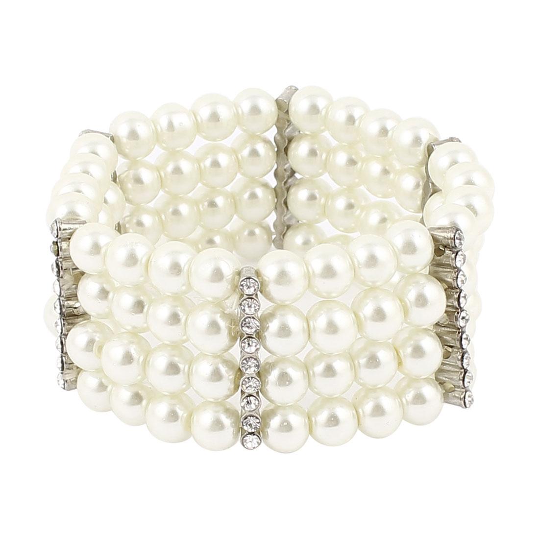 Lady White 4 Row Faux Pearl Beads Rhinestone Detailing Elastic String Bracelet Bangle