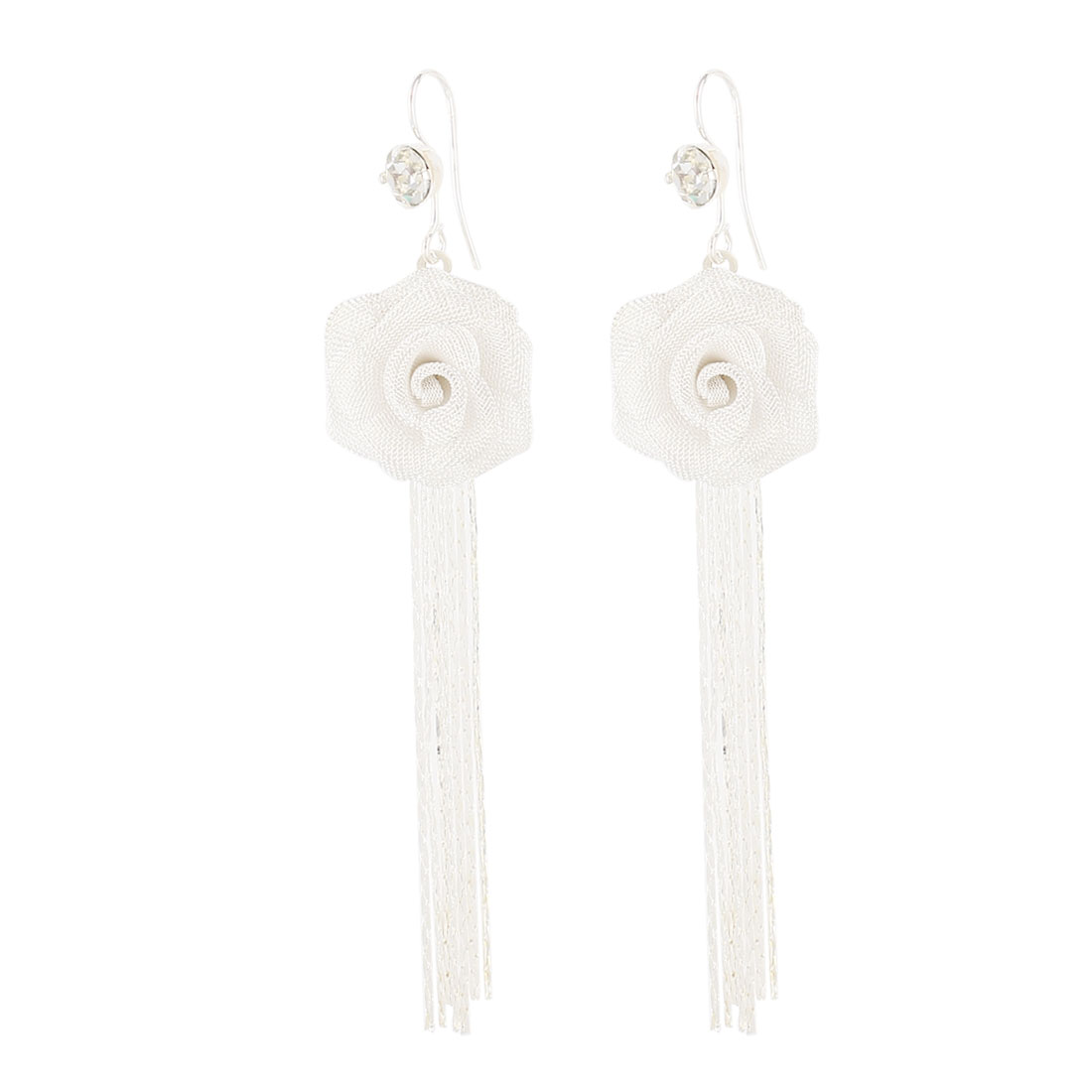 Lady White Nylon Meshy Flower Pandent Adorn Silver Tone Metal Chain Tassels Dangling Hook Earrings Pair