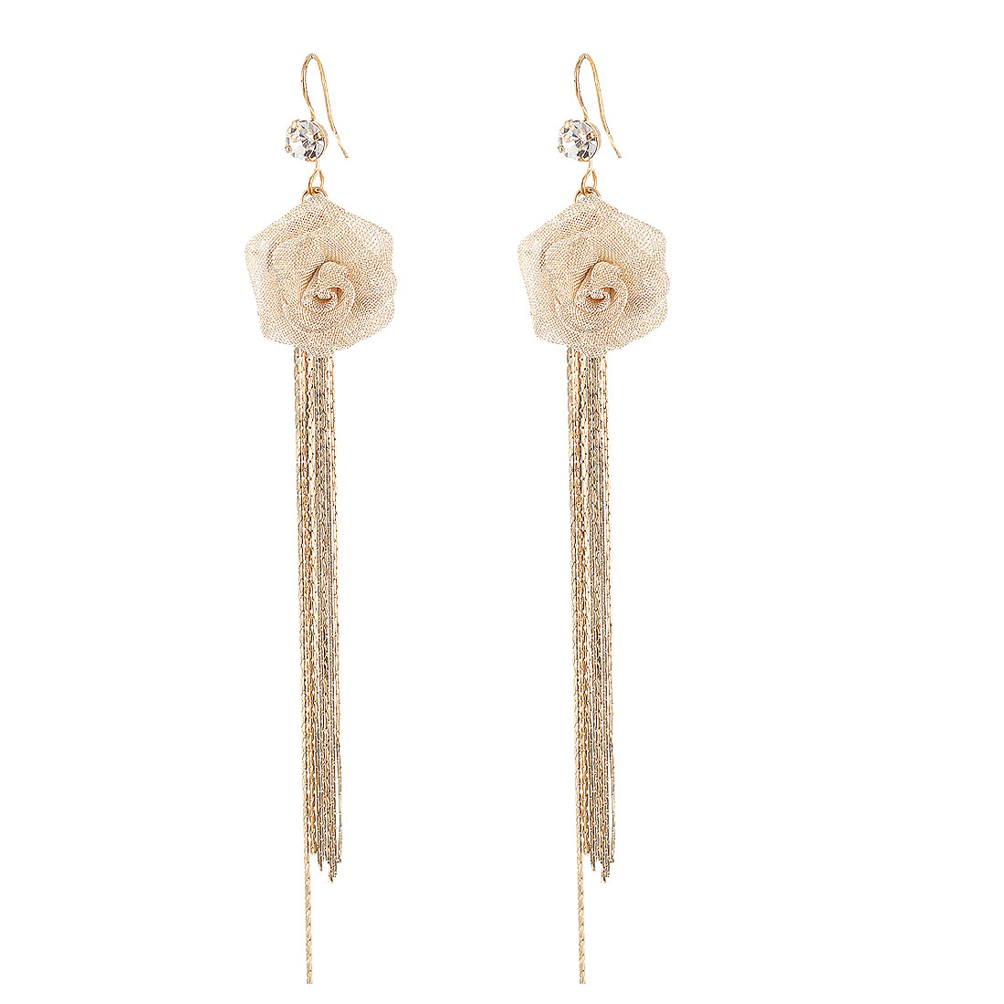 Lady Beige Nylon Meshy Flower Pendant Adorn Gold Tone Metal Chain Tassels Dangling Hook Earrings Pair