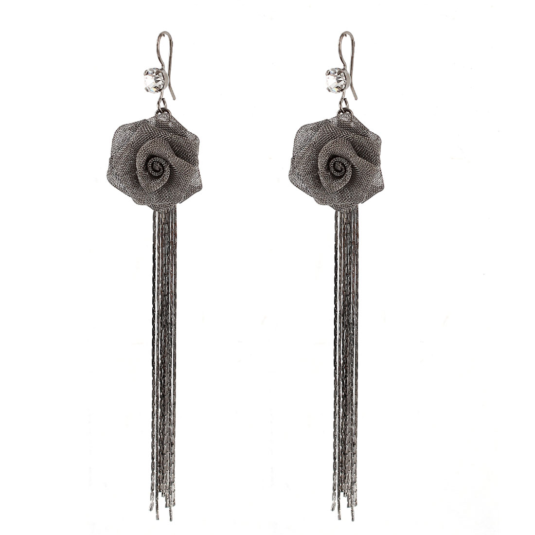 Lady Dark Gray Nylon Meshy Flower Pandent Adorn Metal Chain Tassels Dangling Hook Earrings Pair