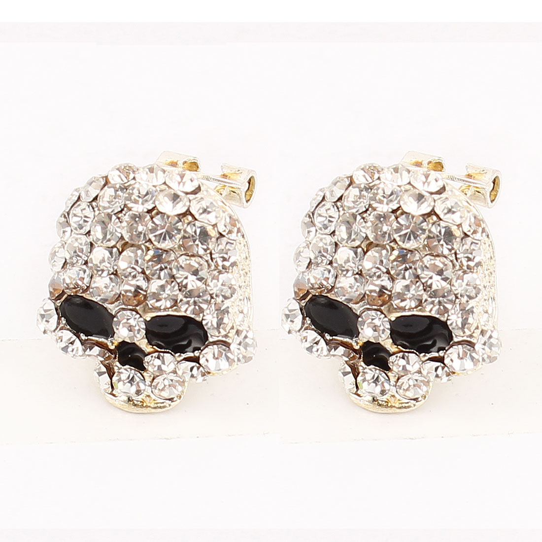 Pair Clear Rhinestone Detailing Skull Shaped Silver Tone Metal French Clip Earrings for Lady