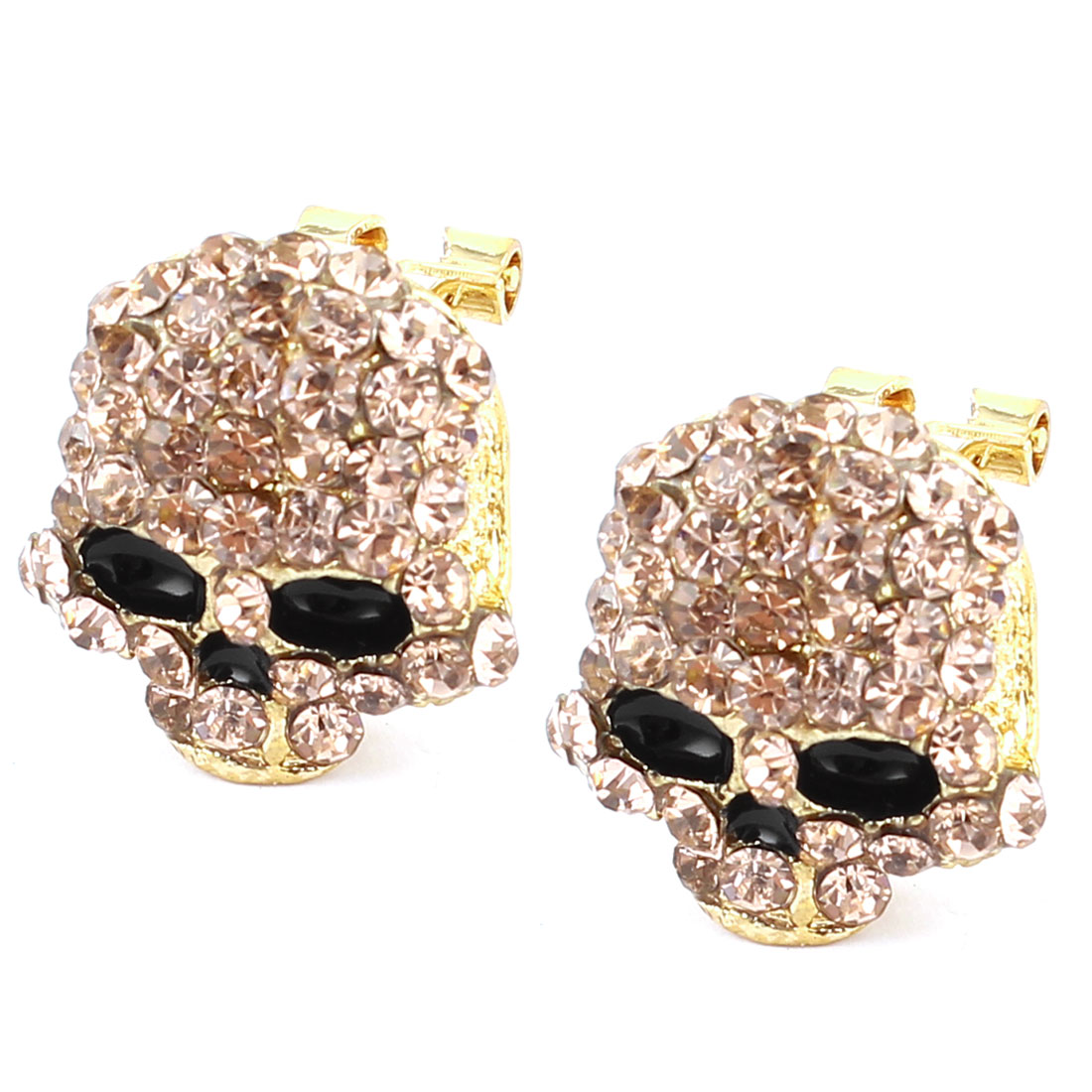 Pair Pink Rhinestone Detailing Skull Shaped Metal French Clip Earrings for Lady