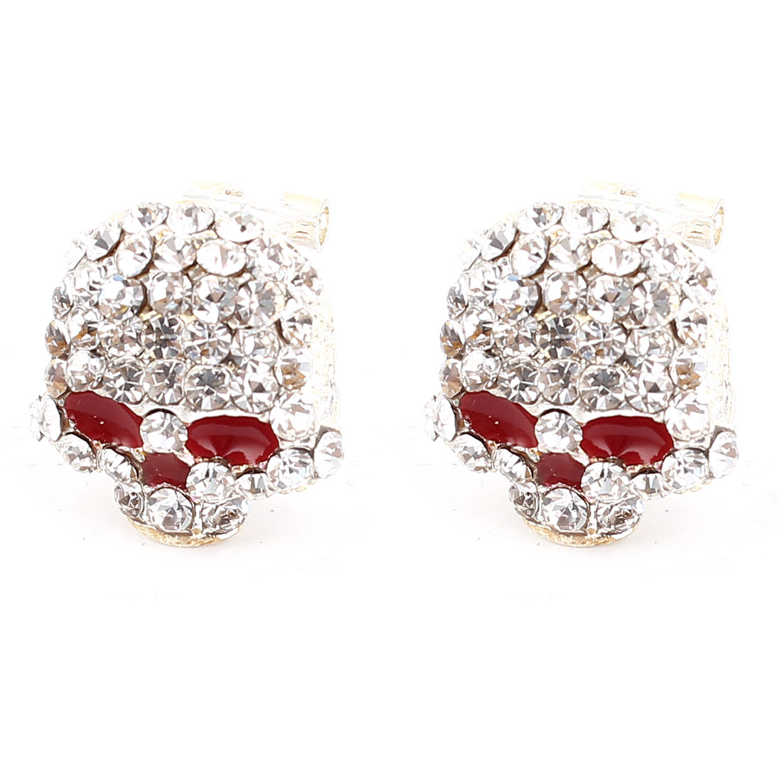 Pair Clear Rhinestone Accent Skeleton Shaped Silver Tone Metal Clip Earrings for Woman