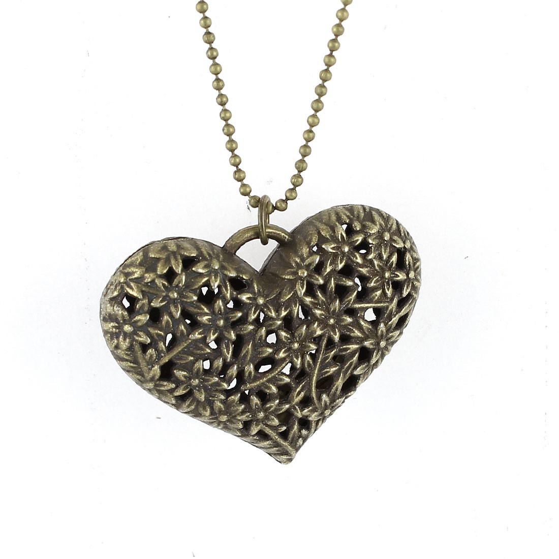 Bronze Tone Flower Pattern Hollow Heart Design Pendant String Dress Sweater Necklace for Lady