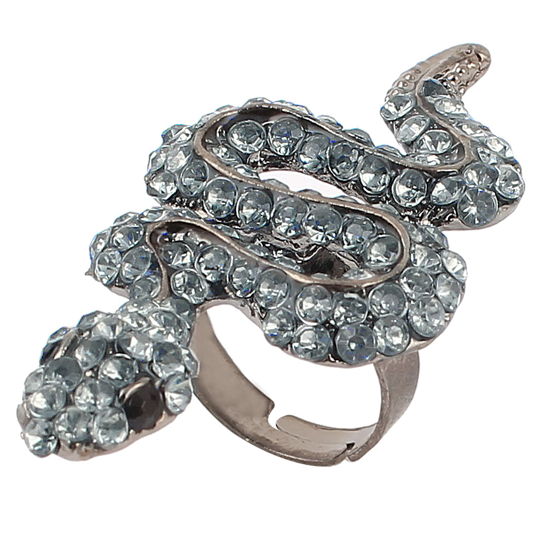 US 5 1/4 Gray Metal Snake Shape Faced Rhinestone Detailing Finger Ring for Lady