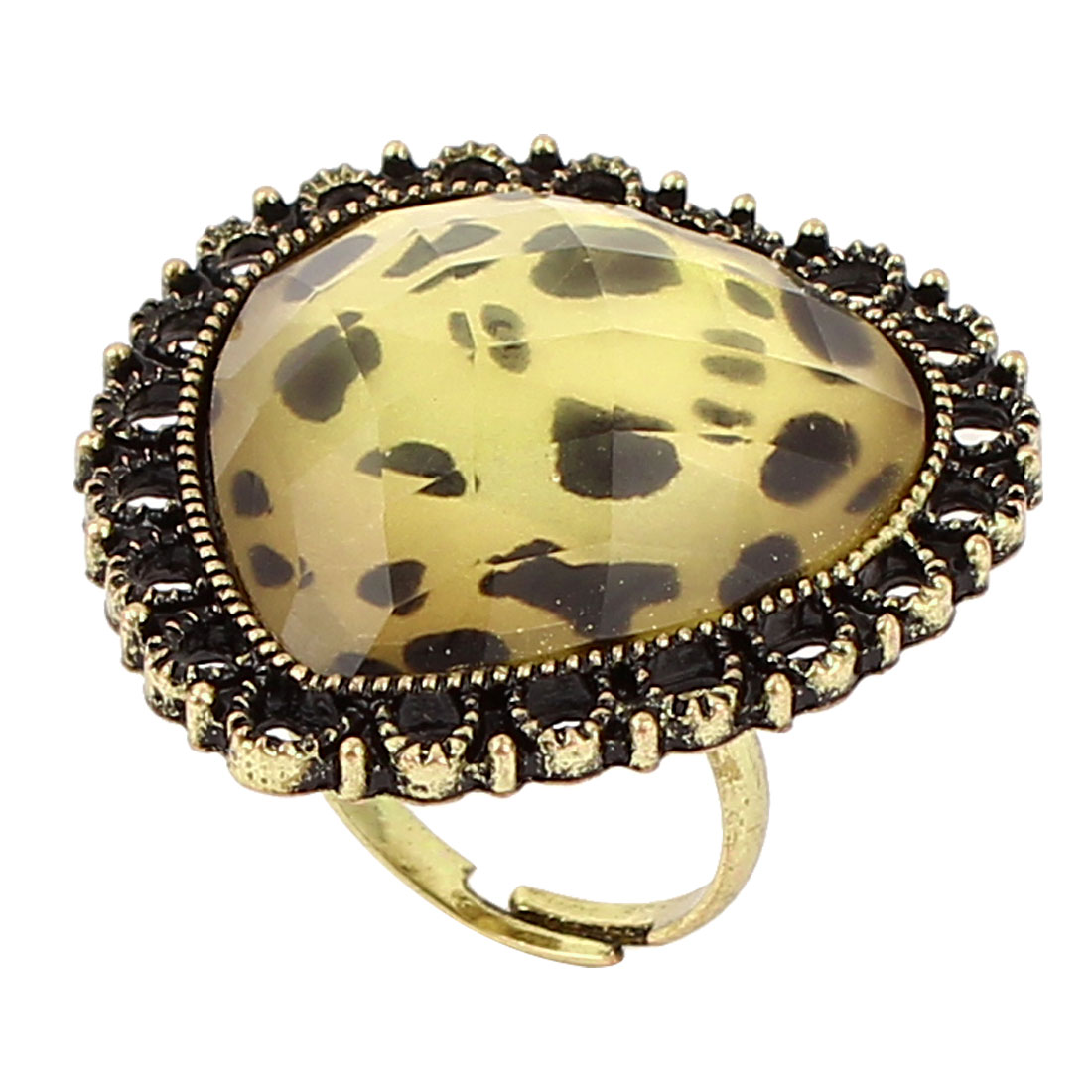 Bronze Tone Heart Design Leopard Print Round Case Finger Ring US 6 3/4 for Lady