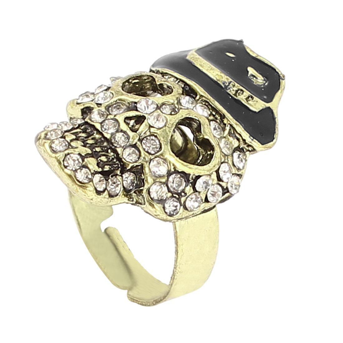 US 6 1/4 Bronze Tone Metal Skeleton Shape Rhinestone Detailing Finger Ring for Lady