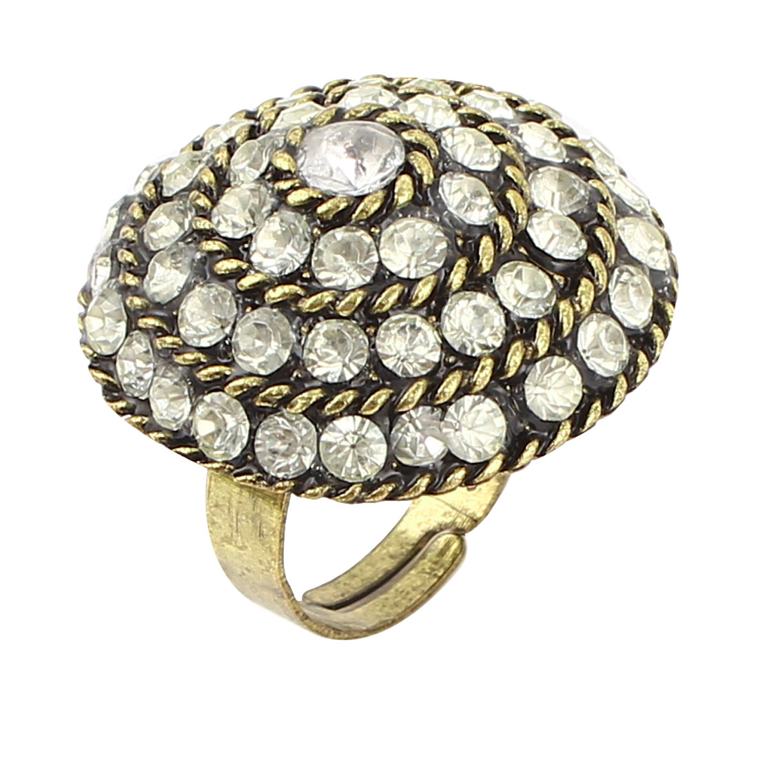 US 6 1/4 Mushroom Shape Rhinestone Detailing Bronze Tone Metal Finger Ring for Lady