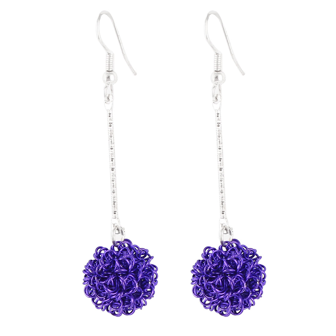 Ladies Purple Hollow Round Ball Dangling Pendant Fish Hook Earrings Pair