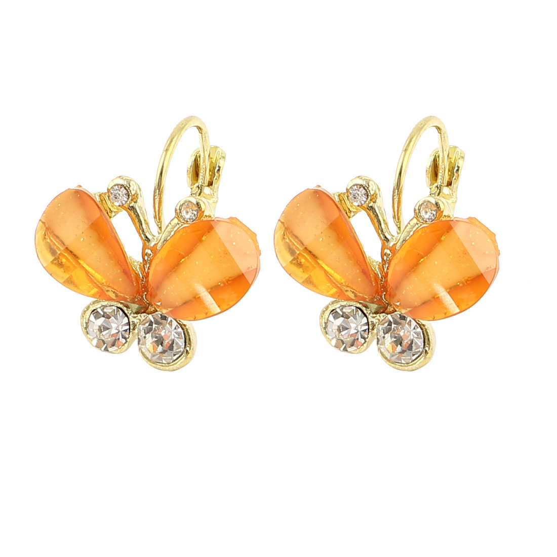 Clear Orange Butterfly Shape Rhinestone Decor French Cip Earrings Pair for Women