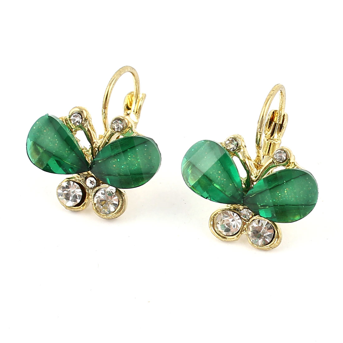 Clear Green Butterfly Shape Pendant Rhinestone Decor French Clip Earrings Pair for Women