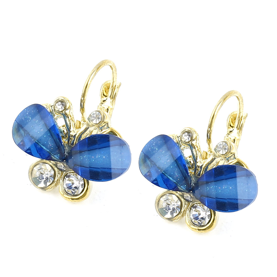 Clear Blue Butterfly Shape Rhinestone Decor Clip Earrings Pair for Women