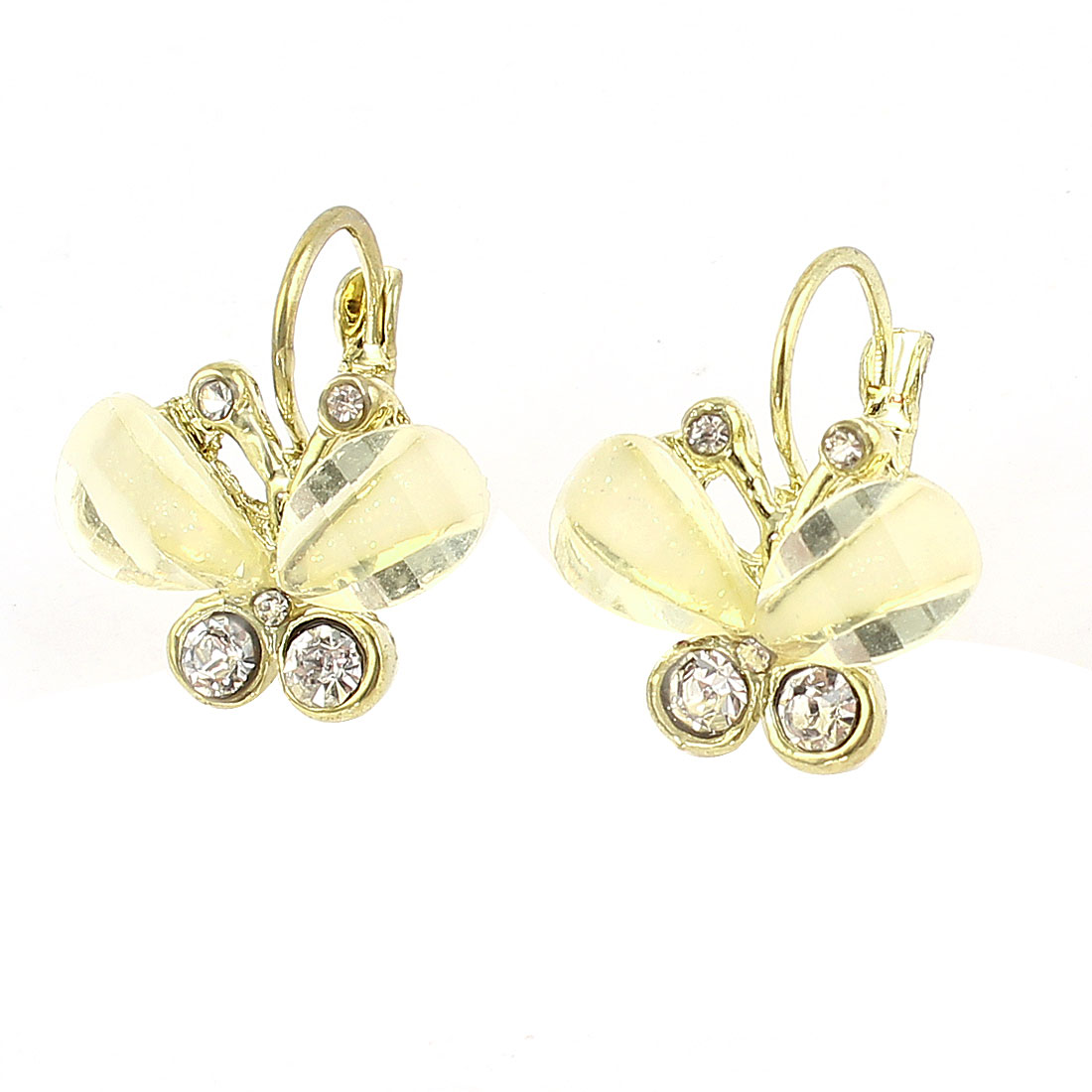 Clear White Butterfly Shape Pendant Rhinestone Decor Clip Earrings Pair for Women