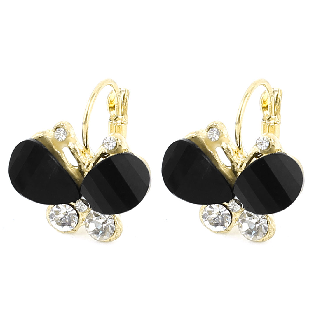 Black Butterfly Shape Rhinestone Decor Clip Earrings Pair for Women