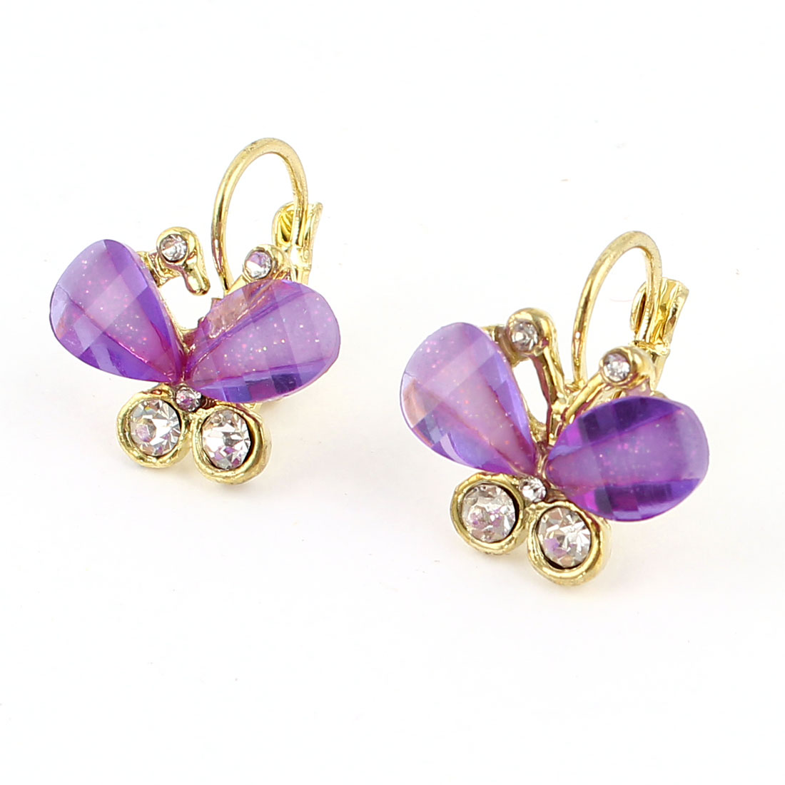 Clear Purple Butterfly Shape Rhinestone Decor Clip Earrings Pair for Women